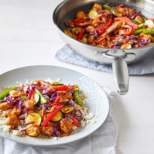 Gemüse-Wok mit Hähnchen