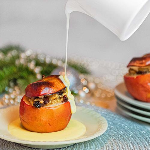 Bratapfel auf Vanillespiegel